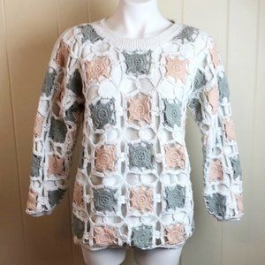 Vintage 90s Sweater w/ Granny Square Overlay